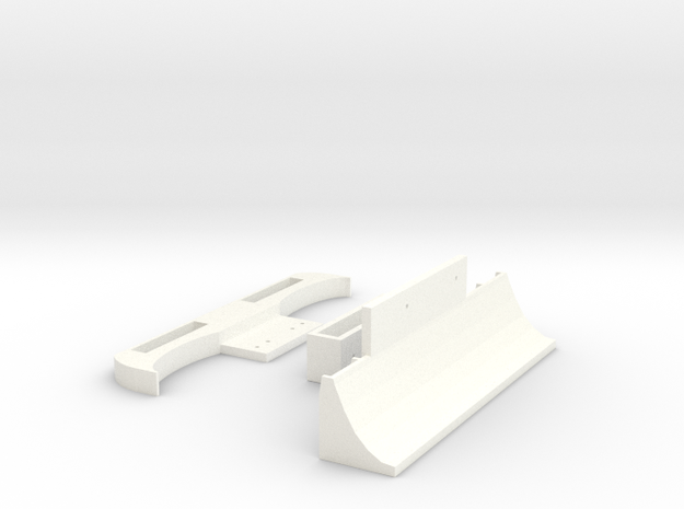 Mini-z Pan Car Bumper and Diffuser Kit in White Strong & Flexible Polished
