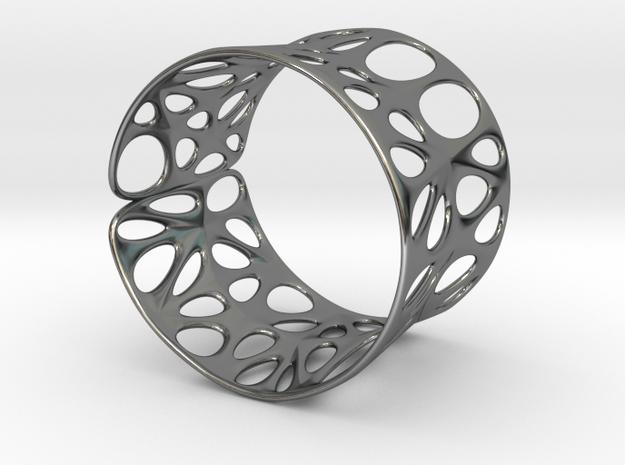 Catenoid Voronoi Bracelet 65mm in Premium Silver
