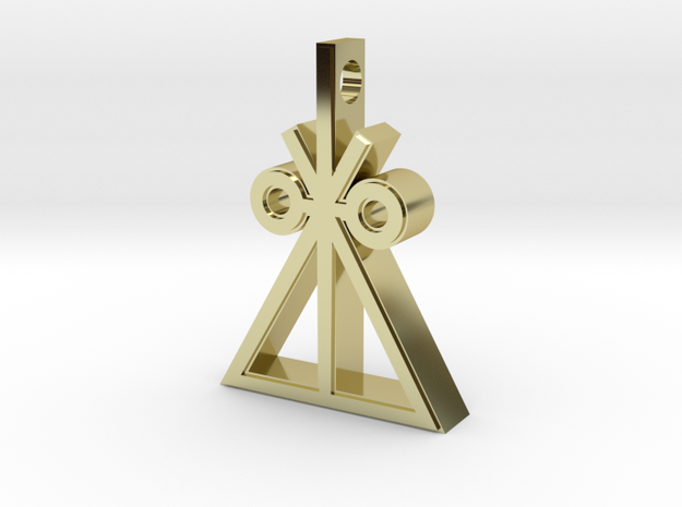 Trilateral Insignia Necklace in 18k Gold Plated Brass