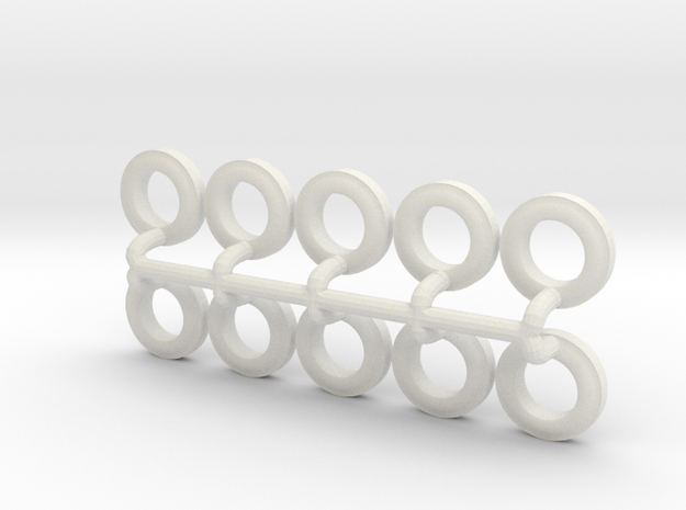 1/64 225/75R18 Trailer Tires in White Natural Versatile Plastic