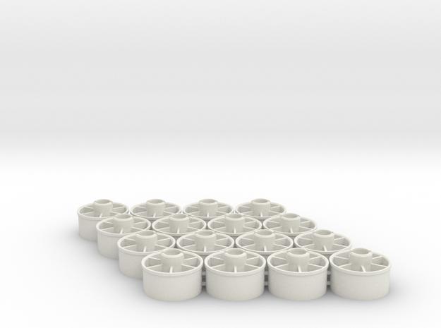 Mini-z rear Wheelset 21mm, +3.5mm, 8pr in White Natural Versatile Plastic