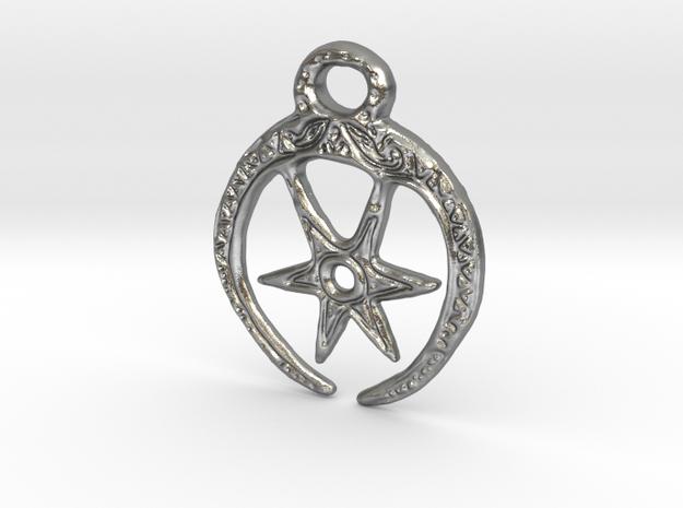 Roman Moon & Star Pendant (precious metal version) in Natural Silver