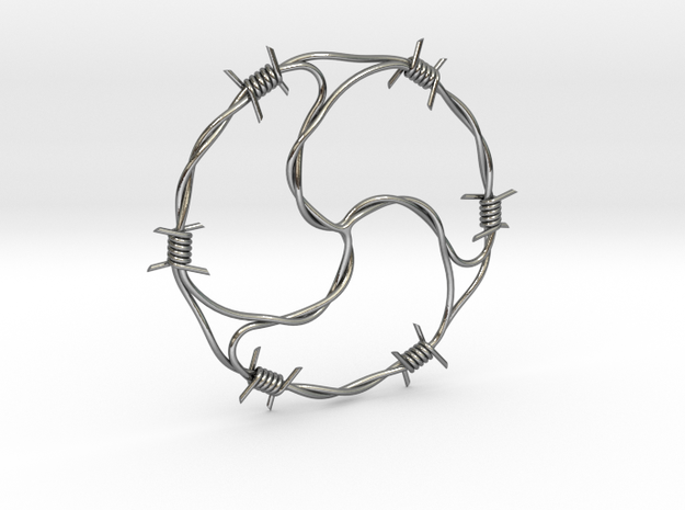 Barbed Wire BDSM pendant in Polished Silver