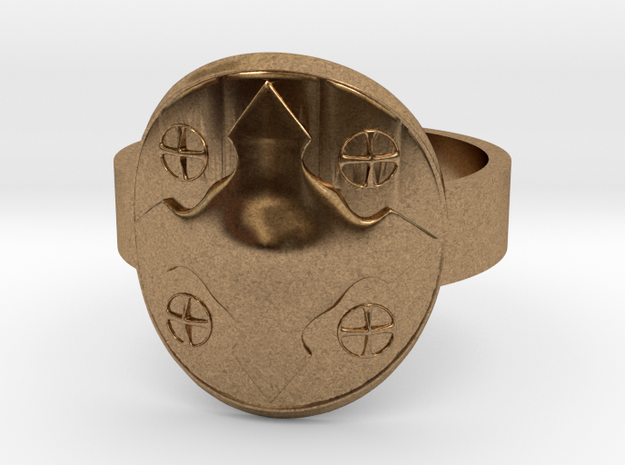 Wotan Cross Shield Ring -Size 8 in Natural Brass