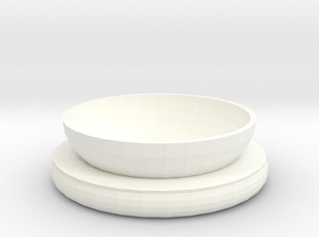 Cat or Dog Bowl in White Processed Versatile Plastic