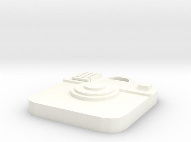 Camera Keychain in White Processed Versatile Plastic