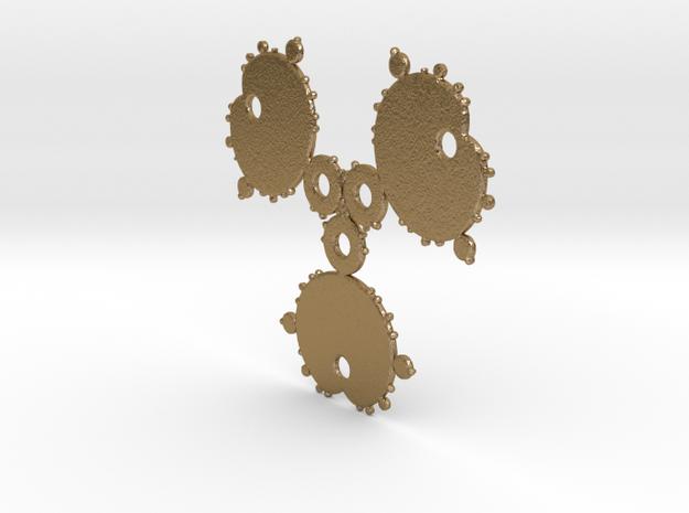 Mandelbrot 3 Leaf Out Pendant in Polished Gold Steel