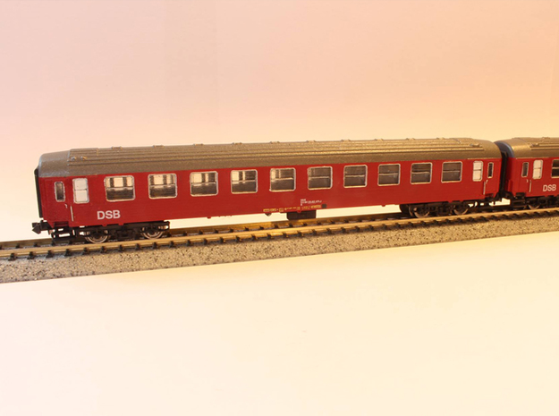 DSB class B coach (late version) N scale in Smooth Fine Detail Plastic