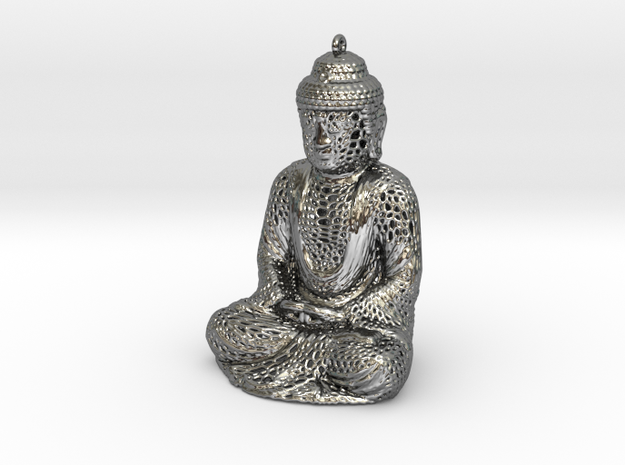 Buddha Pendant in Fine Detail Polished Silver