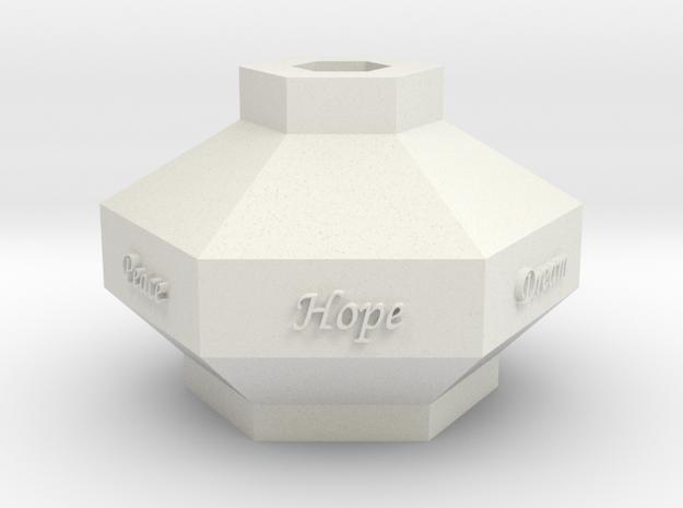 Hex Vase in White Natural Versatile Plastic