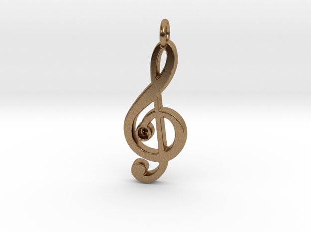 G Clef Pendant with «G» in Raw Brass