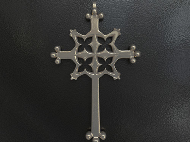 Gothic Quatrefoil Cross in Polished Bronzed Silver Steel