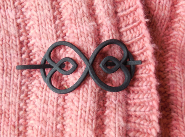 Hearts Shawl Pin in Black Natural Versatile Plastic