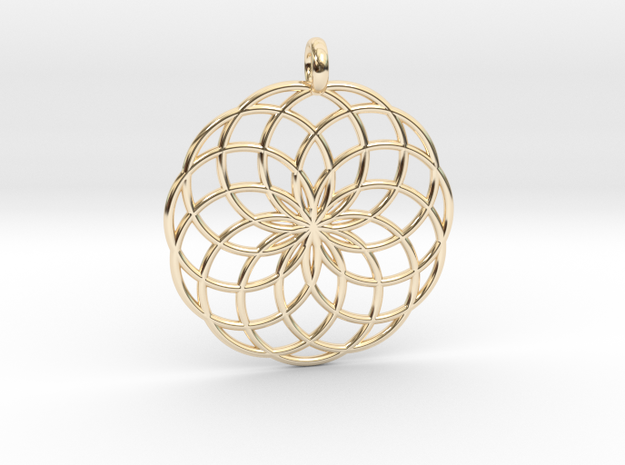 14 Ring Pendant - Flower of Life in 14k Gold Plated Brass