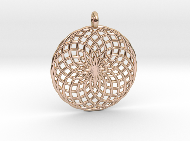 18 Ring Pendant - Flower of Life in 14k Rose Gold Plated Brass