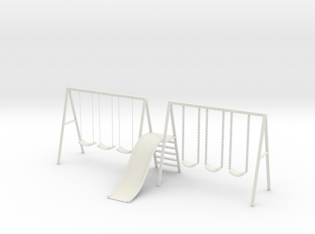 Swing set with Slide in White Strong & Flexible