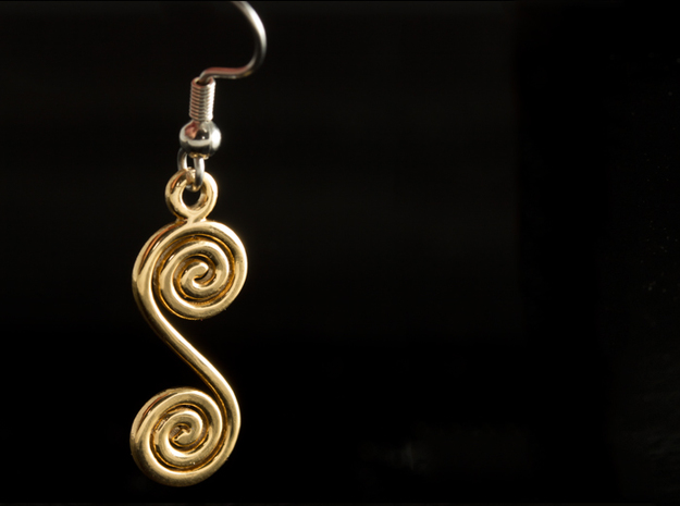 Spirals earring or pendant in 18K Gold Plated