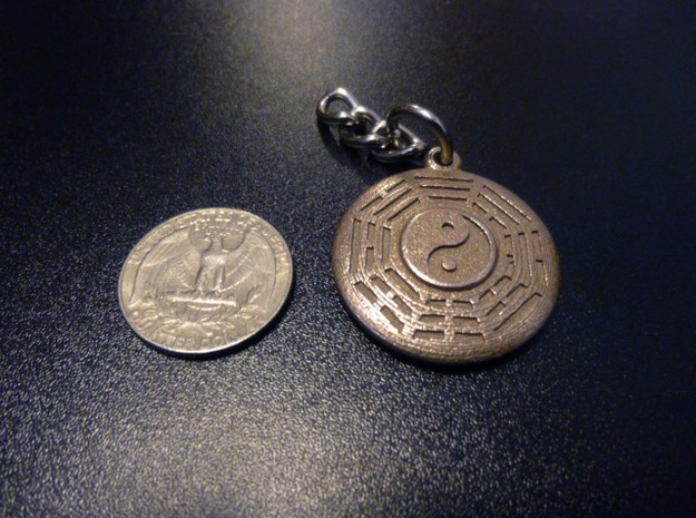 Yin Yang Keychain with Fuxi Bagua in Polished Bronzed Silver Steel