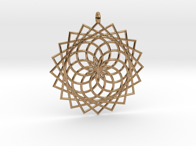 Flower of Life - Pendant 4 in Polished Brass