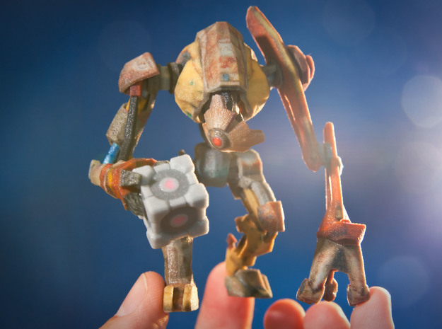DOG from Half Life 2, holding a Companion Cube in Full Color Sandstone