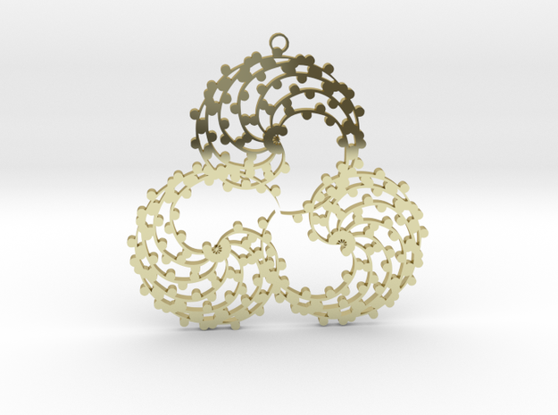 TriSwirl with balls Pendant 3d printed