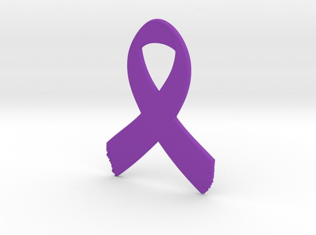 Awareness Ribbon Keychain in Purple Processed Versatile Plastic