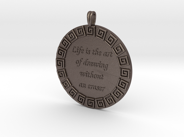 Life Is The Art Of Drawing | Jewelry Quote Pendant in Polished Bronzed Silver Steel