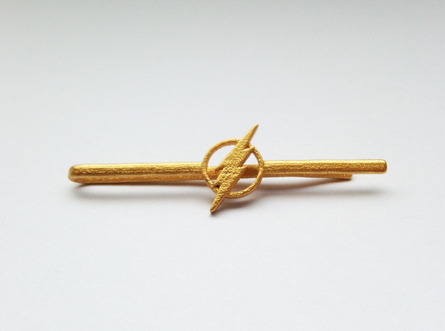 Flash Tie Clip   in Matte Gold Steel