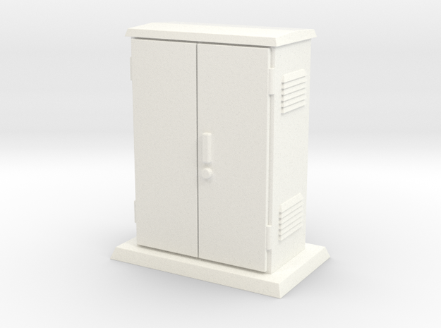 Padmount Electrical Box 01.  1:24 scale in White Processed Versatile Plastic