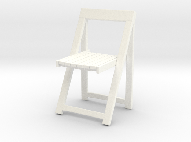 Folding wooden chair 05. 1:24 Scale in White Processed Versatile Plastic