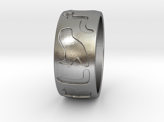 Hieroglyphes Ring in Natural Silver