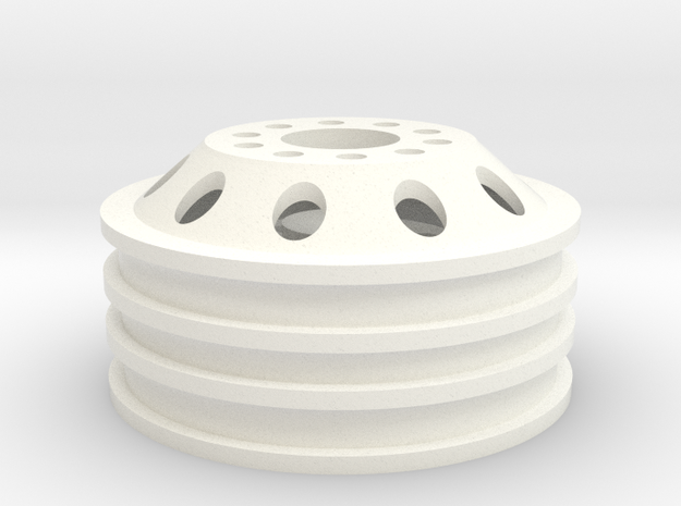 Alcoa 1.9 22mm wide single wheel with 12mm hex hub in White Processed Versatile Plastic
