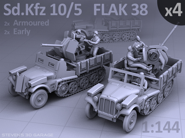 Sd.Kfz 10/5  FLAK 38  (4 pack) in Smooth Fine Detail Plastic