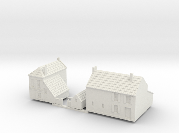 1:350-French Houses X2 in White Strong & Flexible