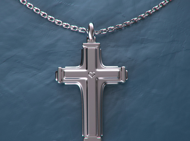 Cross with small heart. in Fine Detail Polished Silver