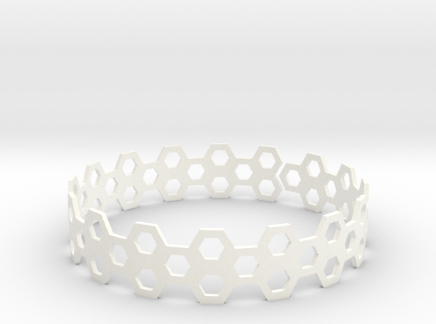 BeeHive Bracelet in White Strong & Flexible Polished