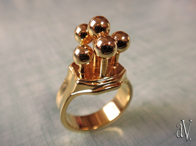 Bulbs Ring in 14k Gold Plated Brass: 7 / 54