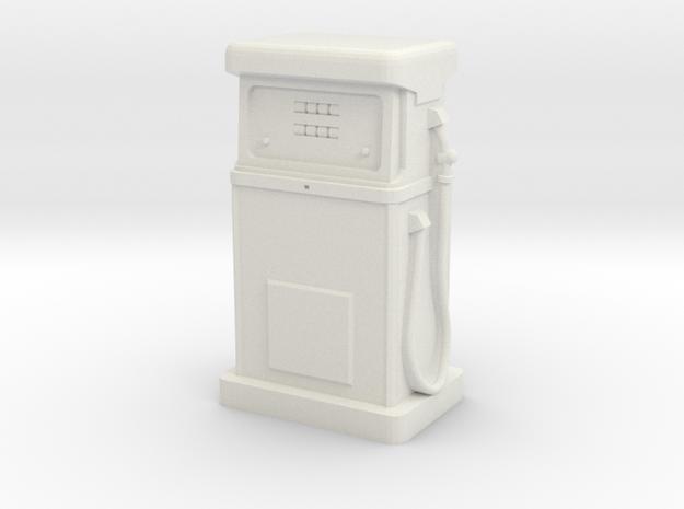 28/32mm Gauge - 1980's Petrol Pump in White Natural Versatile Plastic