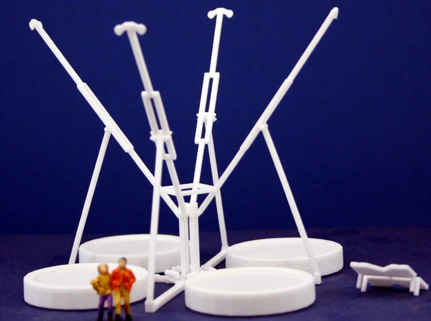 Maxi Bungee Trampolin 4er - 1:87 (H0 scale) 3d printed