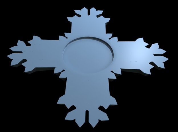 Snowboard Stomp Pad Zia Snowflake 3d printed Bottom side with indention to hold adhesives.