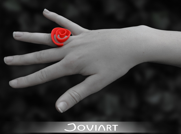 Curly Rose Ring 17.5mm in Red Strong & Flexible Polished