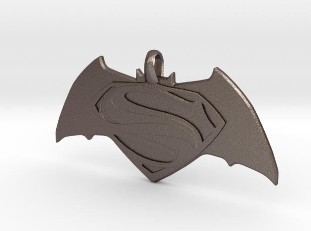 Batman vs Superman Emblem - Reversible Pendant Key in Polished Bronzed Silver Steel
