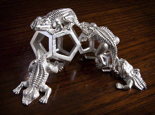 Reptiles & Dodecahedra mini sculpture Fine Art top in Raw Silver