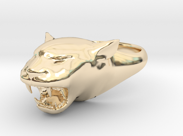Cougar-Puma Ring , Mountain lion Ring Size 8  in 14K Yellow Gold