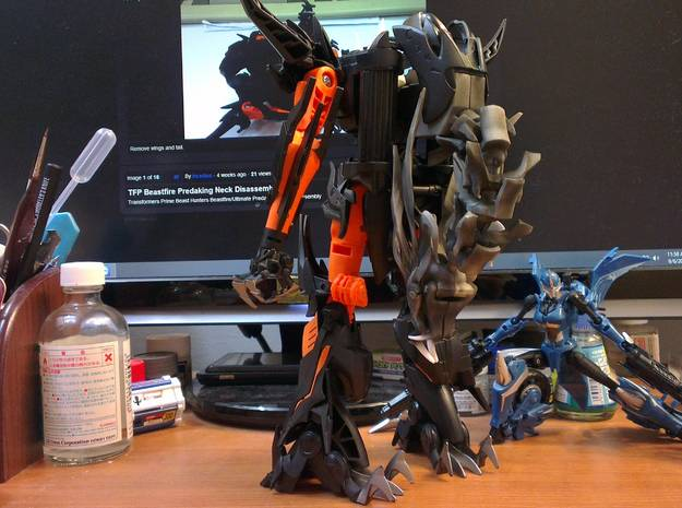 Ultimate TFP Beast King Head + Neck 3d printed in bot mode.
