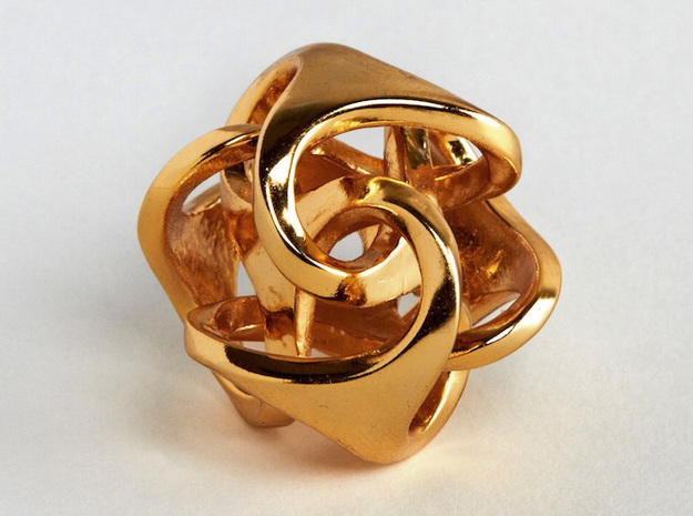Ora Pendant (smaller) 3d printed Gold-plated brass