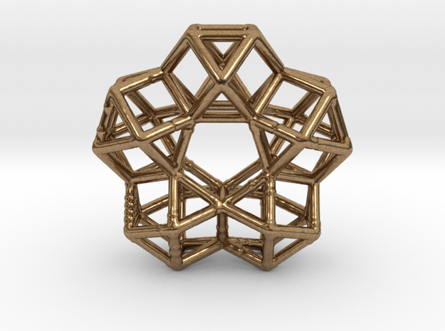 Vector Equilibrium Circle 40mm 5 cuboctahedrons in Raw Brass