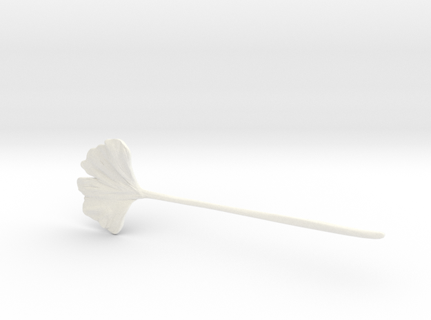 Ginkgo Leaf Hair Pin  in White Processed Versatile Plastic