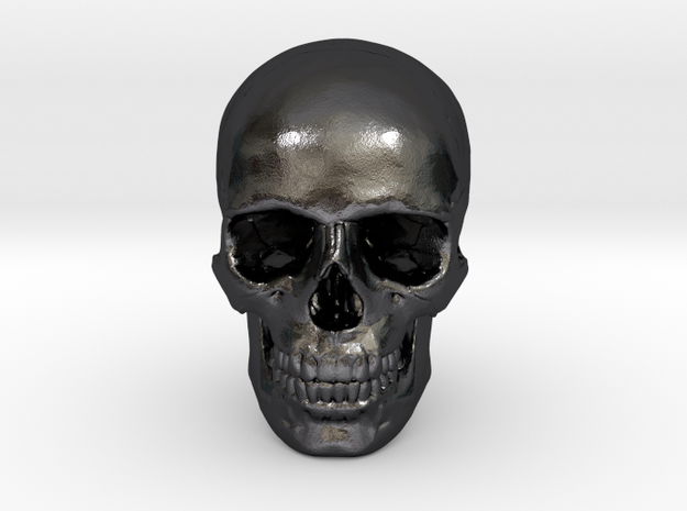 33mm 1.3in Human Skull (23mm/.9in wide) in Polished and Bronzed Black Steel