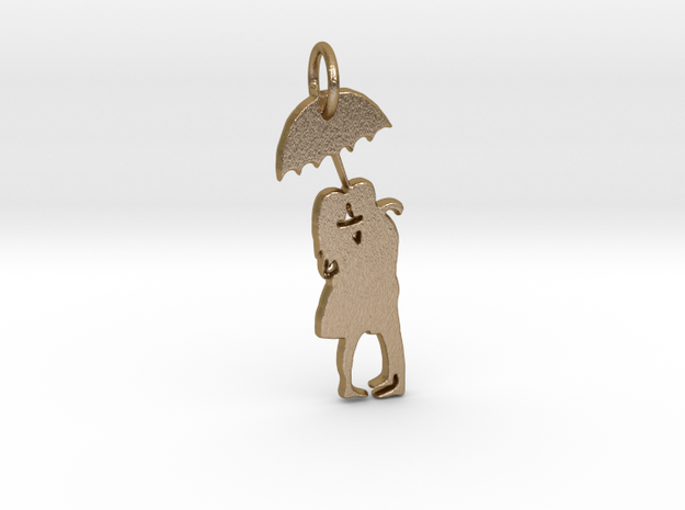 Couple under umbrella in Polished Gold Steel